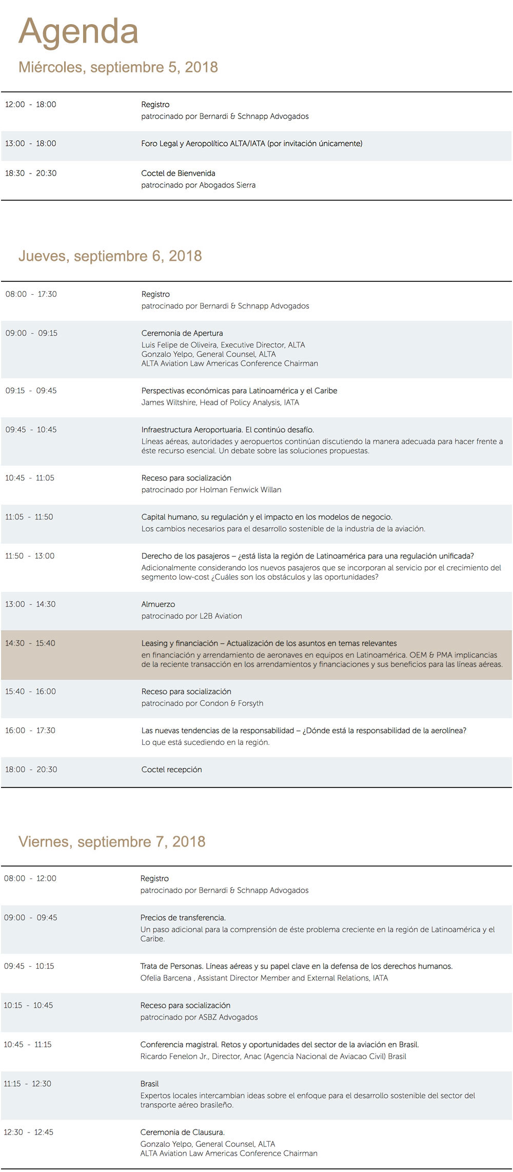 Agenda ALTA (Aviation Law Americas) septiembre 5-7 en Miami(Florida)