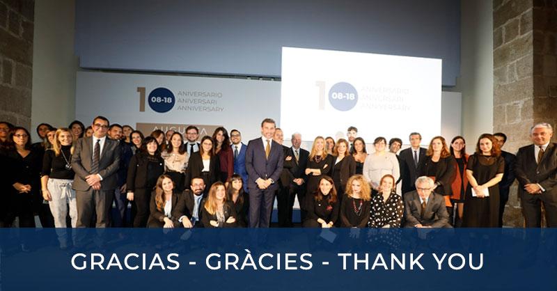 Gracias - Gràcies - <Thank you 10 Aniversario Augusta abogados - 15-11-2018