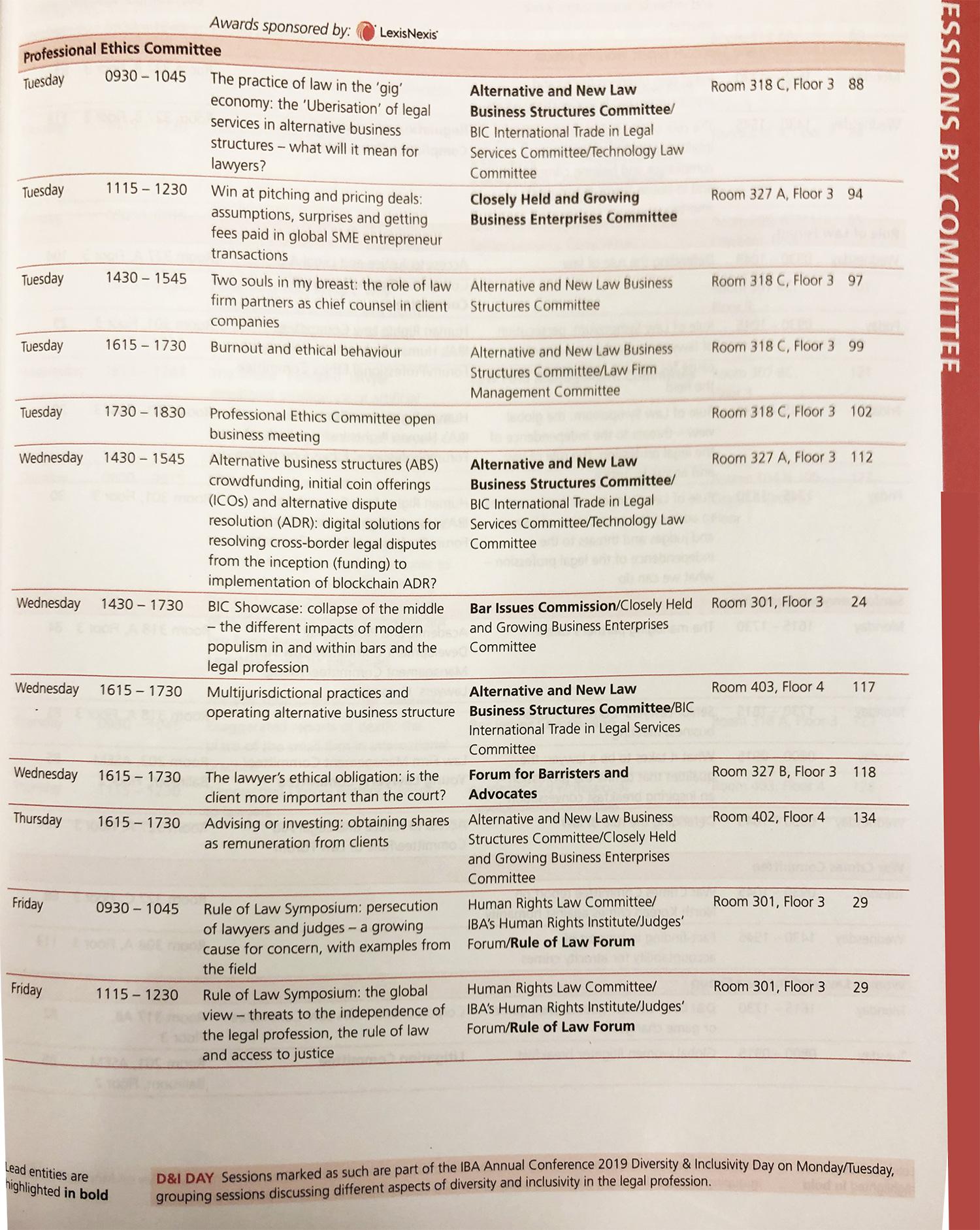 IBA Professional Ethics Committee list